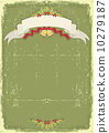 Vintage christmas card with scroll and text celebration on old p 10279187