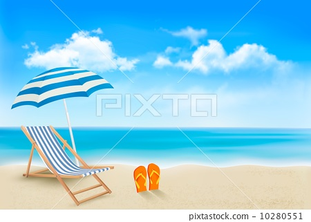 Stock Illustration: Seaside view with an umbrella, beach chair and a pair of flip-fl