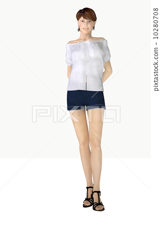 Posing woman smile up shot 3D CG whole body low angle 10280708