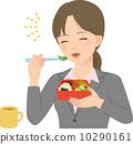 笑顔でお弁当を食べるスーツの女性 10290161