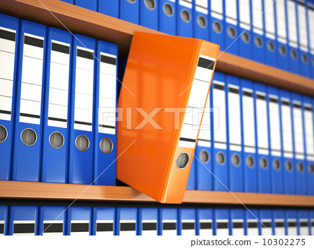 Office file binders on shelf. Archive. 10302275