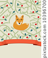 Little fox in a forest card design 10396700