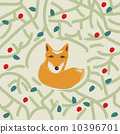 Illustration of a cute little fox in a forest 10396701