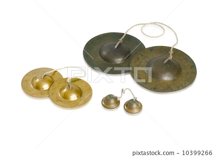 Bronze cymbals castanets Thai asian music percussion instrument on white background 10399266