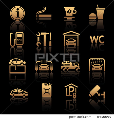 Set pictograms. Gas station. Symbols Roadside services 10430095