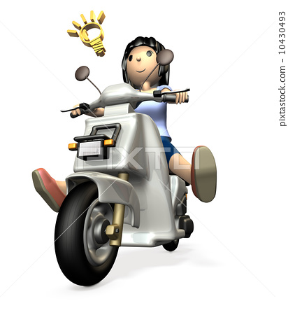 A young woman riding a scooter 10430493