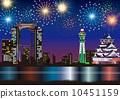 Osaka Night view fireworks 10451159