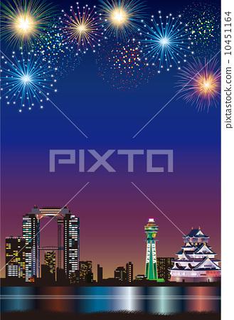 Osaka Night view fireworks 10451164
