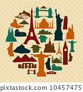 World landmark silhouettes set 10457475