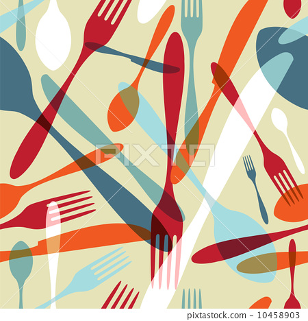 Cutlery transparent silhouette pattern background 10458903