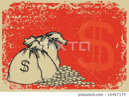 Money bags .Vector graphic image with grunge background 10467174