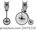 owls with vintage bicycle, vector illustration 10475236