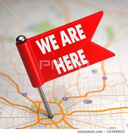 We Are Here - Small Flag on a Map Background. 10488603