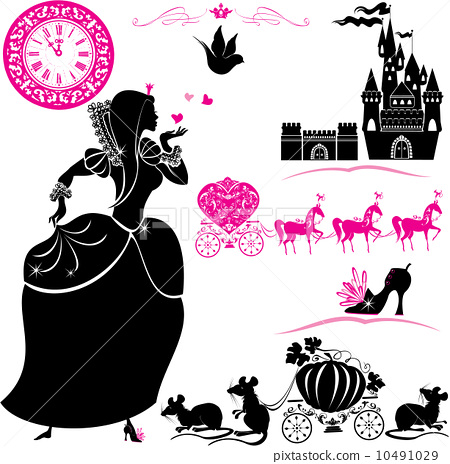 Fairytale Set - silhouettes of Cinderella, Pumpkin carriage with 10491029