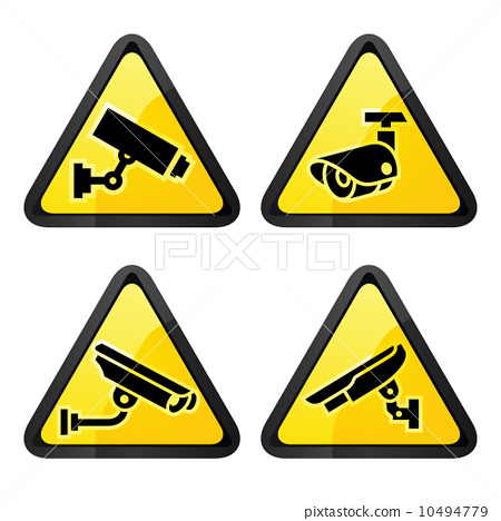CCTV triangular labels, set symbol security camera 10494779