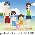 家庭中的四個人有海水浴背景 10514305
