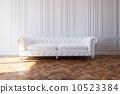White Luxury Leather Sofa In Classic Design Interior 10523384