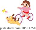 มีหญิงสาวขี่จักรยานสุนัขและผีเสื้อ 10531758