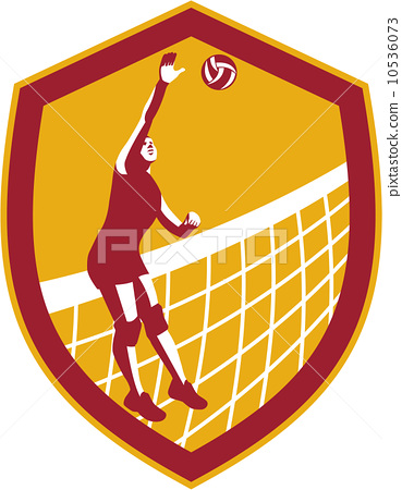 Volleyball Player Spike Ball Net Retro Shield 10536073