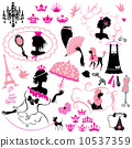 Fairytale Set - silhouettes of princess girls with accessories, 10537359