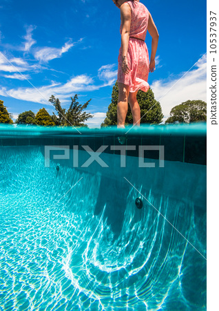 Girl Foot Pool Test Water 10537937