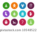 Christmas circle icons on white background. 10548522