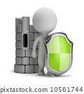 3d small people - shield and a castle 10561744