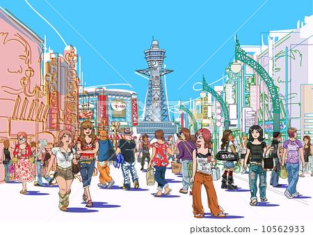 Osaka Minami Shinsekai, Tsutenkaku streetscape 10562933