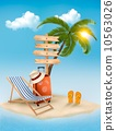 Beach with a palm tree, a direction sign and a beach chair. Summ 10563026
