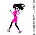 Beautiful fashion girl on roller skates 10590416