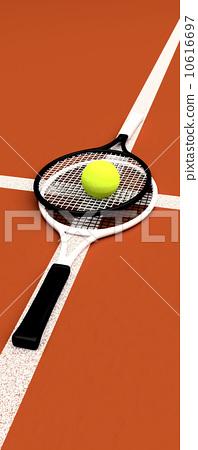 Tennis, rackets, sphere, game, ground. 10616697