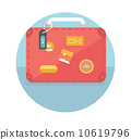 Suitcase with travel stickers 10619796