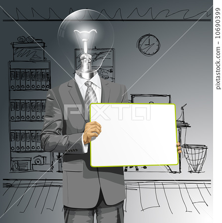 Vector Lamp Head Business Man with Empty Write Board 10690399
