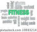3d  Fitness and Healthy Exercise Word and Icon Cloud 10693214