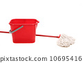 Mop and red bucket. 10695416