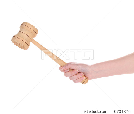 hand holds Wooden meat mallet 10701876