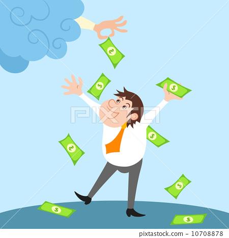 Businessman character under money rain 10708878