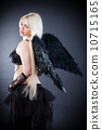 Blond female angel with black wings on a black background 10715165