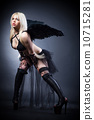 Blond female angel with black wings on a black background 10715281