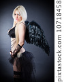 Blond female angel with black wings on a black background 10718458