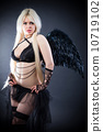 Blond female angel with black wings on a black background 10719102