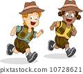 Boy and Girl Kids Running for Safari Adventure 10728621