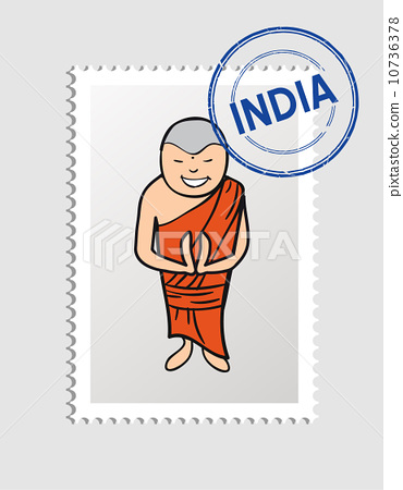 India cartoon person travel stamp. 10736378
