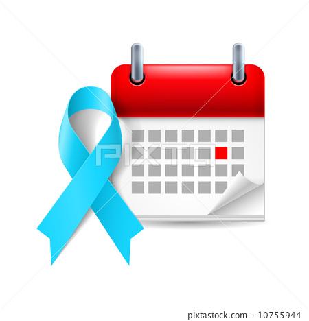 Light blue awareness ribbon and calendar 10755944