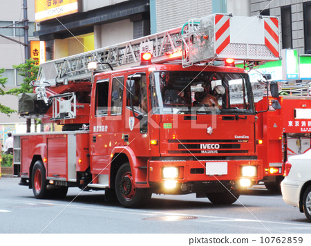 Stock Photo: firetruck, fire-engine, hose