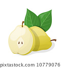 One pear and half of pear. Vector illustration 10779076