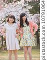 벚꽃 나무 아래에서 봄을 즐기는 젊은 2 명의 여자 10791964