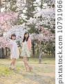 벚꽃 나무 아래에서 봄을 즐기는 젊은 2 명의 여자 10791966
