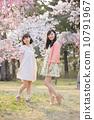 벚꽃 나무 아래에서 봄을 즐기는 젊은 2 명의 여자 10791967