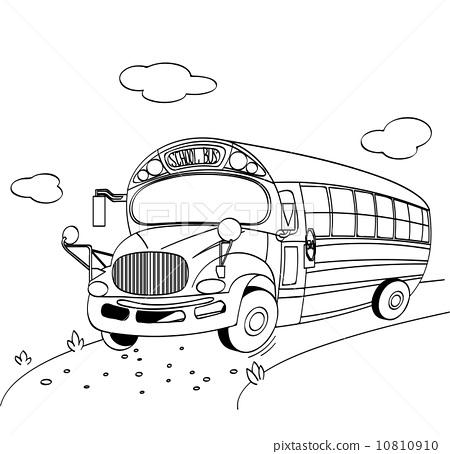 School Bus coloring page - Stock Illustration [10810910] - PIXTA